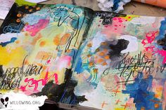 art journal page by tamara laporte of willowing.org inspired by printmaking unleashed