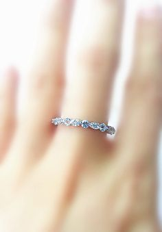 0.61 ctw Aquamarine & 0.16 ctw Diamonds Eternity 14K White Gold Ring/ Wedding Band/ Anniversary Band/ Stacking Ring/ Gift/ Birthstones Ring on Etsy