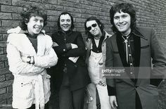 Photo of Les GRAY and Dave MOUNT and Rob DAVIS and MUD; L-R: Rob Davis, Dave Mount, Les Gray, Ray Stiles
