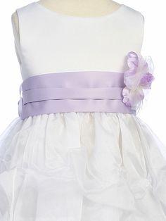 Lilac Flower Girl Dress - Matte Satin Bodice w/ Gathers