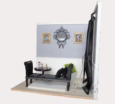 """Handmade diorama """"BAROQUE""""  Sizes:  - walls are 35 height - floor is 34 x 29 cm long"""