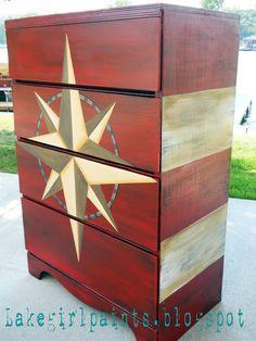 Lake Girl Paints: Nautical Compass Dresser
