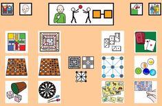 """""""Tablero de comunicación: Juegos"""". Recopilación de diferentes tableros de comunicación de 12 casillas, organizados por necesidades básicas y centros de interés. Los tableros pueden imprimirse tal como aparecen en los documentos o bien se puede modificar el contenido, la forma, el color, etc., para adaptarlos a las características individuales de cada usuario. Pueden utilizarse también para trabajar distintos repertorios de vocabulario agrupado por temas o categorías."""