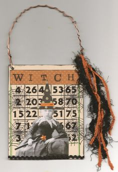 Halloween Witch Altered Bingo Card, use old book covers Halloween Bingo, Halloween Banner, Holidays Halloween, Halloween Themes, Halloween Ideas, Happy Halloween, Chic Halloween, Halloween Scrapbook, Halloween Witches