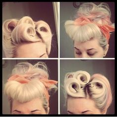 Pinup hair - Victory Rolls - hair tutorial Februhairy Day 18 #myhautedame