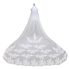 LEORX Premium Embroidery Long Lace Edge Bridal Wedding Veil Mantilla with Comb 260CM ** Continue to the product at the image link.-It is an affiliate link to Amazon.