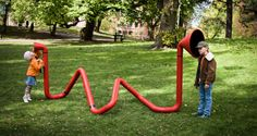 Invoxicated installation by PINPIN, allowing kids to create processed sounds by speaking into it.