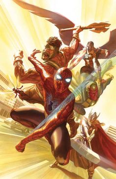 """scienceninjaturtle: """" AVENGERS Mark Waid (W), Mike Del Mundo (A), Alex Ross ©, Joe Jusko (VC) ·""""Kang War IV"""" begins! The Avengers turn the tables on one of their oldest foes by adopting one of his. Marvel Avengers, Marvel Heroes, Uncanny Avengers, Alex Ross, Marvel Comics Art, Marvel Comic Books, Comic Books Art, Comic Art, Cosmic Comics"""