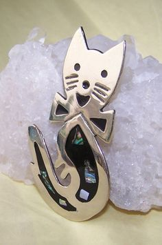 Cat Brooch Alpaca Mexico Mother of Pearl Accents by JewelsByDesign, $15.00