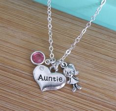 Auntie Necklace Reveal Gift for Auntie by MadiesCharms on Etsy