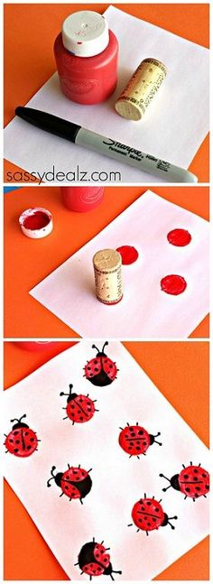 Wine Cork Ladybugs Craft for Kids (easy diy projects for kids) Cork Crafts, Crafts To Do, Crafts For Kids, Shell Crafts, Bottle Crafts, Projects For Kids, Diy For Kids, Diy Projects, Ladybug Crafts