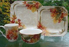 24PC Set 222 Fifth Autumn Celebration Harvest Thanksgiving Maple Leaf Dinnerware   eBay