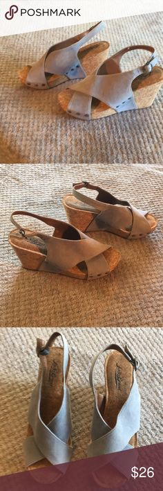 Luck Brand Wedge Sandals Gray Suede Sz 6.5 Classic Lucky Brand Wedge Sandals  Cobalt Gray Soft Suede Four Inches Tall Perfect for Jeans Lucky Brand Shoes Wedges