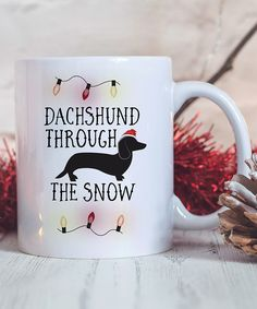 15-Oz. 'Dachshund Through The Snow' Ceramic Mug by Hey Shabby Me #zulily #zulilyfinds