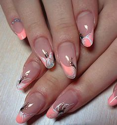 New french pedicure designs flower nailart Ideas Fancy Nails, Trendy Nails, Pink Nails, Nail Art Designs, Pedicure Designs, Latest Nail Art, New Nail Art, Cruise Nails, Spring Nail Art