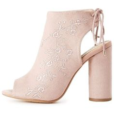 Charlotte Russe Embroidered Lace-Up Slingback Booties (115 RON) ❤ liked on Polyvore featuring shoes, boots, ankle booties, mauve, chunky lace up booties, lace up booties, lace up peep toe boots, chunky-heel boots and peep toe ankle booties
