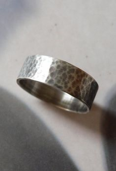Sterling silver band ring rustic hammered