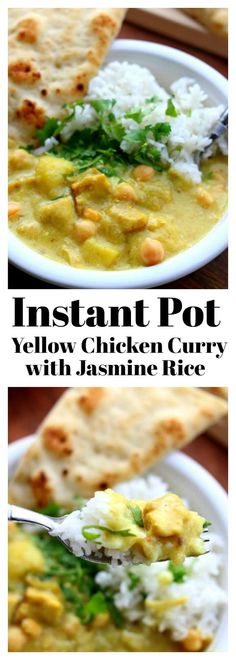 Instant Pot Yellow Chicken Curry and Jasmine Rice–a thai-style coconut curry with moist bites of chicken, tender bites of yellow potatoes, vibrant turmeric and curry powder all made quickly at home in your electric pressure cooker. Bonus: The jasmine rice is cooked at the same time and in the same pot!