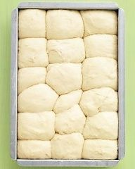 No-Knead Dinner Rolls - Martha Stewart Recipes -- Even beginner-level bakers will have no trouble making these fluffy rolls; the dough can be prepped, put in the pan, and chilled up to a day ahead. let-s-share-recipes Recettes Martha Stewart, Martha Stewart Recipes, Bread And Pastries, Tortillas, Bread Recipes, Baking Recipes, Muffin Recipes, Do It Yourself Food, Dinner Rolls Recipe