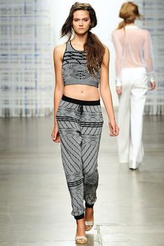 Black & White Ripple Jacquard Crop Top and Track Pant