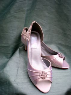 Wedding shoes  Wedding shoe low heel  vintage by TheCrystalSlipper, $110.00