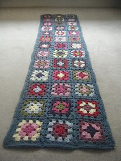 Granny Squares laid out to block over night