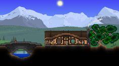 Cozy house with bridge, by Khaios Terraria House Design, Terraria House Ideas, Biomes, Cozy House, World, Minecraft Ideas, Building Ideas, Video Games, Bridge