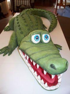 Big Gator - Alligator birthday cake - almond pound cake with vanilla/almond buttercream and Satin Ice fondant.
