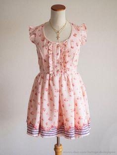 LIZ LISA Flower Carousel Lace-up Ribbon OP Dress Hime Sweet Lolita Kawaii Japan #LIZLISA #Peplum #Shibuya109Lolitafashion