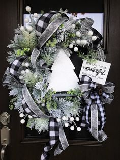 Christmas Wreath Christmas Pine Wreath Flocked Pine Christmas Wreath Sparkly Christmas Wreath Holiday Door Wreath One of a Kind Wreath Black and White Plaid Christmas Decor Home Decor Handmade Wreaths Wreaths Plaid Christmas, Christmas Home, Christmas Holidays, Christmas Crafts, Christmas Quotes, Christmas Carol, Christmas 2019, Christmas Island, Christmas Movies