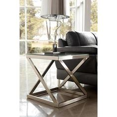 Brushed Metal Square End Table with Clear Tempered Glass Top | Nebraska Furniture Mart