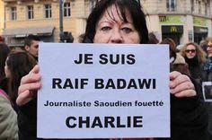 12 janvier 2015 - Les proches de Raif Badawi tentent de lui éviter une autre flagellation : On a pu voir lors des manifestations tenues en Europe en fin de semaine des gens tenir des affiches disant «Je suis Raif Badawi».