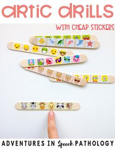10 Simple Therapy Ideas Using a Cheap Pack of Stickers - Adventures in Speech Pathology Preschool Speech Therapy, Articulation Therapy, Speech Therapy Activities, Speech Language Pathology, Speech And Language, Preschool Articulation Activities, Preschool Songs, Toddler Speech Activities, Work Activities