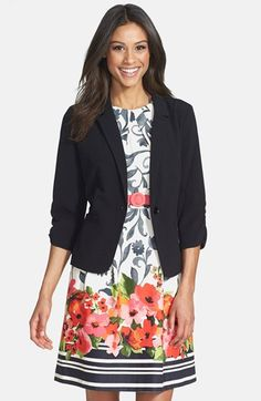 This jacket is the perfect jacket to work in...3/4 sleeve. Comes in black and white. Eliza J Ruched Sleeve Blazer at Nordstrom.com. Ruching nonchalantly pushes up the sleeves of a layer-ready blazer classically tailored with narrow, notched lapels and a single-button closure.