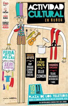 """""""Actividad cultural en Ñuñoa"""" / Cartel creado para la FEP (Federación de estudiantes del Pedagógico - UMCE) / Cartel creado por La Espora. 2012"""