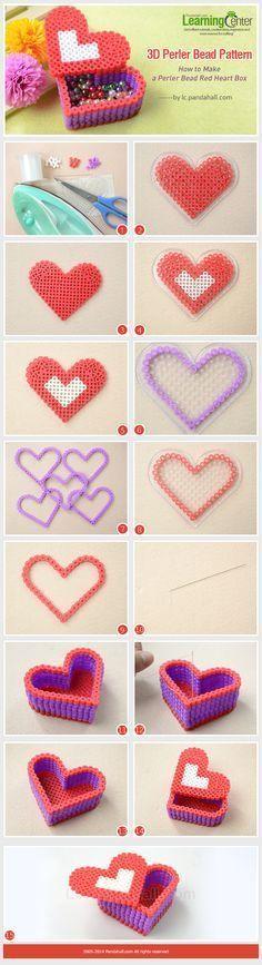 Kleine Geschenkdose aus Perlen. Vielleicht zum Muttertag oder Valentine? 3d Perler Bead Pattern-How to Make a Perler Bead Red Heart Box