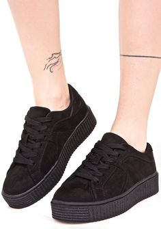 Forward Motion Creeper Sneakers cuz ya never stop movin', bb. These chic sneakers feature a smooth black vegan suede construction, comfy padded interior, black textured creeper sole, and lace-up closures.