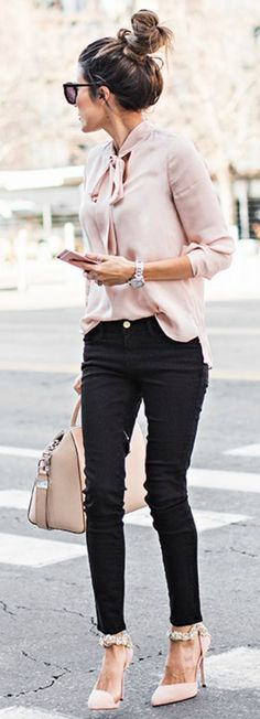 Pale Blush Blouse, Black Skinnies & Top knot.