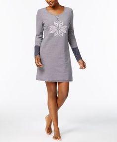 Nautica Reversible Cotton-Blend Sleepshirt - Blue XS
