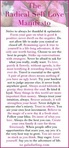 Wonderful Reminders! Self Love Manifesto