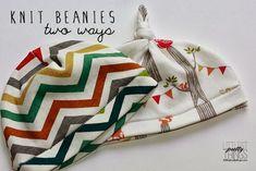 birchfabrics: Tutorial: Baby Knit Beanies - Two Ways {by Littlest Pretty Things}
