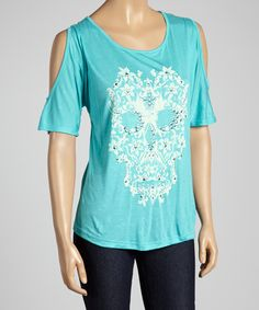 Mint Embellished Skull Cutout Top | zulily