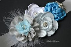 BRENDA Blue Gray & White Flower Maternity Sash | It's A Boy | Newborn Photo Prop | Baby Shower Belly Band | Bridal Sash Belt | Baby Shower