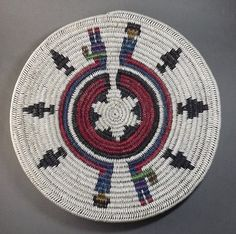 Contemporary Navajo Ceremonial Basket with Rainbow Yeii's by Mary Black. Coiled and wrapped sumac American Indian Crafts, American Indians, Native American Baskets, Native Indian, Craft Stores, Navajo, Nativity, Mary, Rainbow
