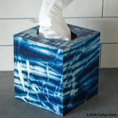 arashi shibori dyed tissue box cover Textiles, Textile Patterns, Textile Design, Textile Art, Tissue Box Covers, Tissue Boxes, Plywood Boxes, Tie Dye Crafts, World Crafts