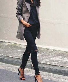 street style. Black and grey slte coat