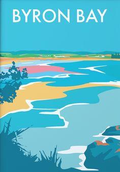 Byron Bay, Australia - my home town Australia Beach, Australia Travel, Posters Australia, Online Galerie, Map Painting, Graffiti, Surfer, Travel Illustration, Byron Bay