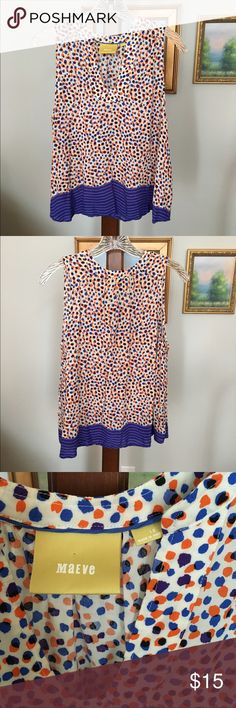 Anthropologie Maeve top size 10 Sleeveless swing top from Maeve. Blue and orange dots with blue striped contrast bottom. Size 10. Worn twice. Excellent condition ❤️ Anthropologie Tops