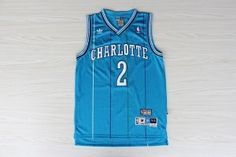 Adidas Charlotte Hornets Larry Johnson Hardwood Classics Swingman Blue Jersey #2