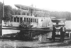 """Steamer """"Hopatcong"""" at Landing -The largest Steamship on the Lake, the White Line's double-decker side-wheeler """"Hopatcong"""" at Landing dock, circa Other White Line boats were the single deck side-wheelers Alametcong and the Musconetcong. Jersey City, New Jersey, Lake Hopatcong, Steam Boats, Living In Arizona, Ghost Ship, Boat Dock, Picnic Area, Small Boats"""